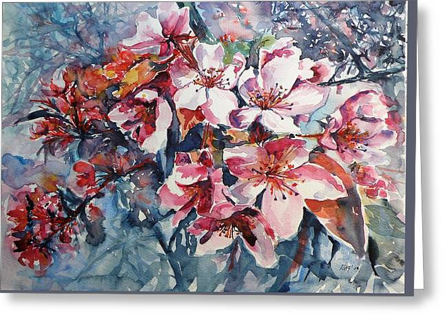 Greeting Card featuring the painting Spring Beauty by Kovacs Anna Brigitta