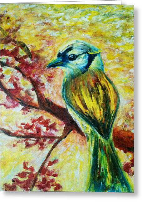 Bird On Tree Greeting Cards - Spring bird Greeting Card by Rashmi Rao