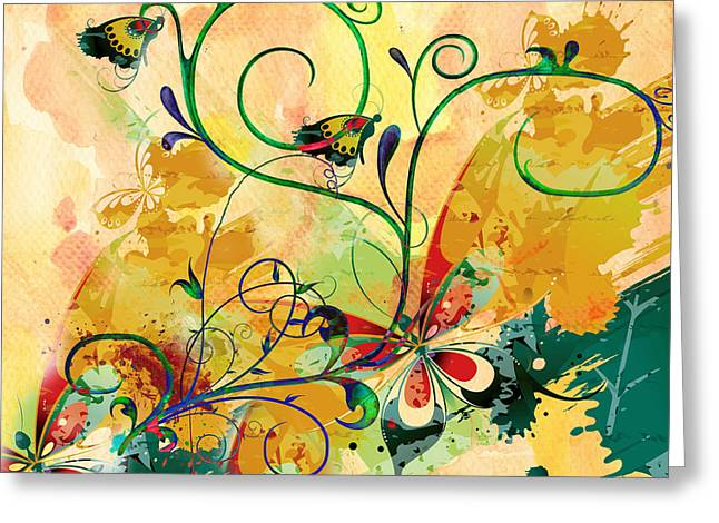 Spring Bliss Semi Abstract Design Greeting Card
