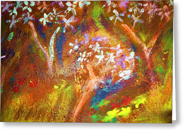Greeting Card featuring the painting Spring Blossom by Winsome Gunning