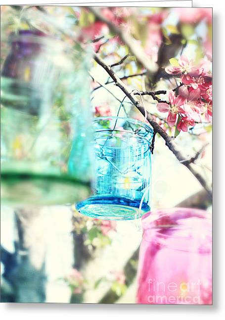 Spring Blossoms And Candles Greeting Card