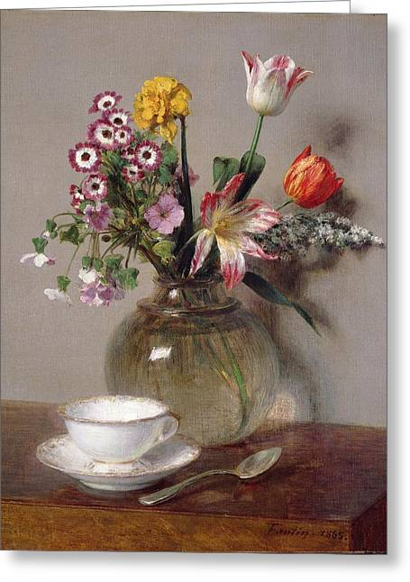 Best Sellers -  - Glass Vase Greeting Cards - Spring Bouquet Greeting Card by Ignace Henri Jean Fantin-Latour