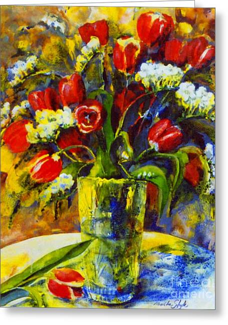 Greeting Card featuring the painting Spring Bouquet by Marta Styk