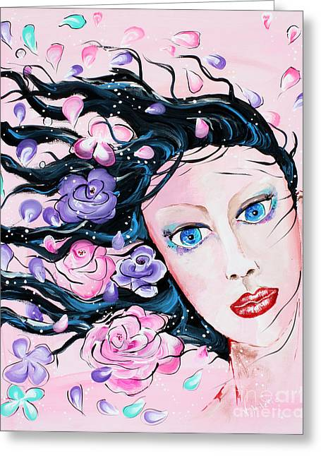 Spring Breeze - Woman Flowers Art By Valentina Miletic Greeting Card