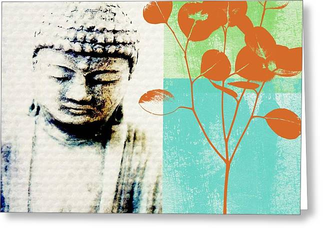 Green Leaves Greeting Cards - Spring Buddha Greeting Card by Linda Woods