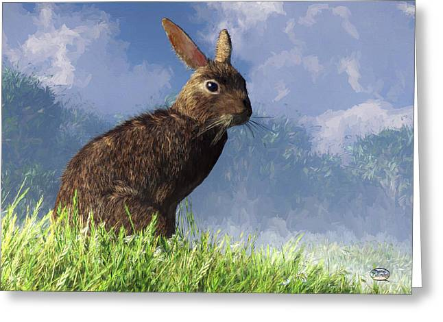 Greeting Card featuring the digital art Spring Bunny by Daniel Eskridge