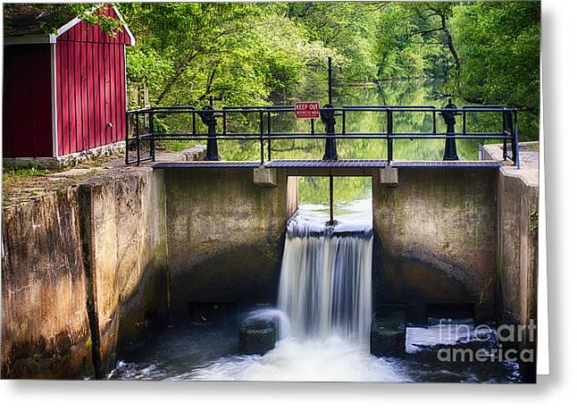 Spring Canal Lock Scene  Greeting Card by George Oze