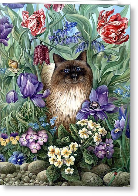 Spring Cat Greeting Card by Irina Garmashova-Cawton
