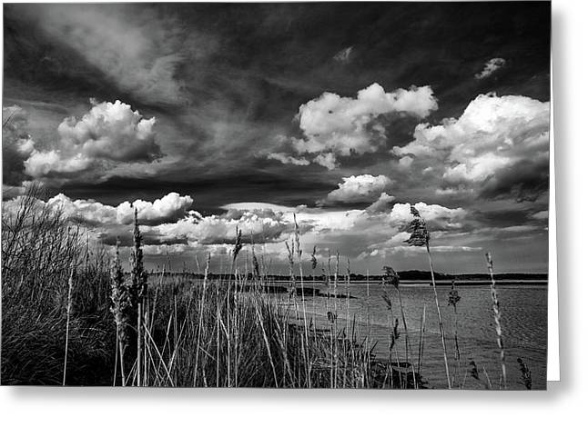 Spring Clouds Over Iken. A Dramatic Black And White Fine Art Photographiv Landscape Print Greeting Card by Lee Thornberry
