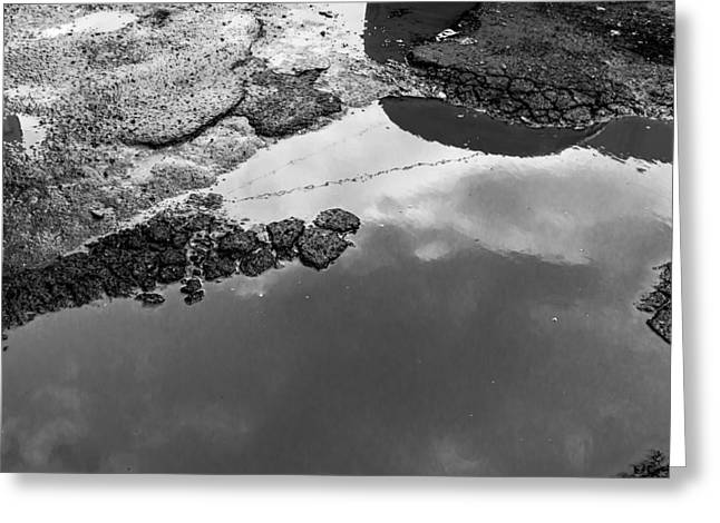 Spring Clouds Puddle Reflection Greeting Card