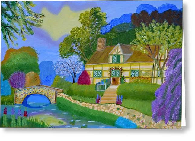 Spring Cottage Greeting Card
