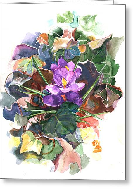 Greeting Card featuring the painting Spring Crocus by Nancy Watson
