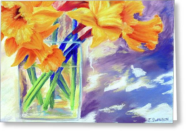 Spring Daffodils Greeting Card by Joan Swanson