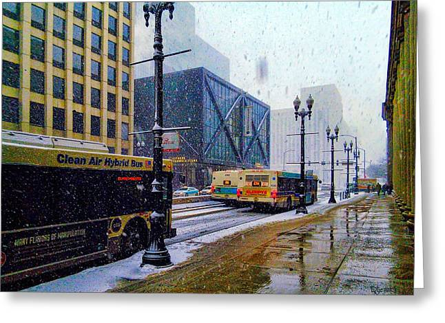 Spring Day In Chicago Greeting Card by Dave Luebbert