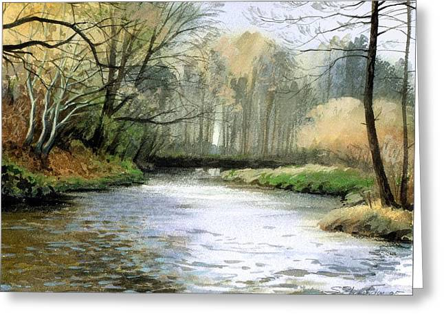 Greeting Card featuring the painting Spring Day On A River by Sergey Zhiboedov