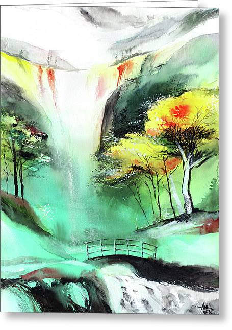 Greeting Card featuring the painting Spring Fall by Anil Nene