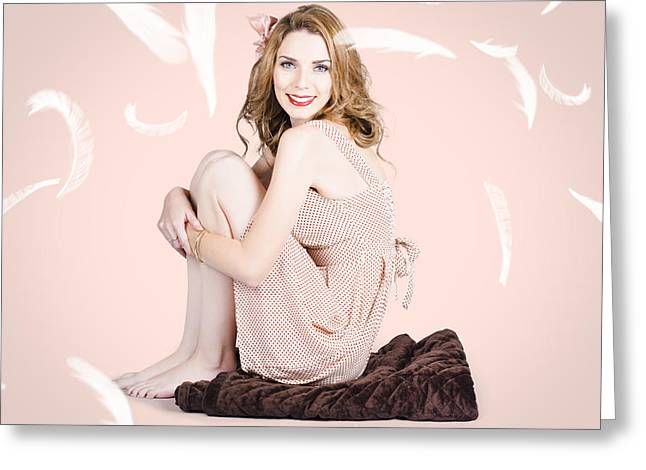 Spring Fashion. Beautiful Woman In Studio Greeting Card by Jorgo Photography - Wall Art Gallery