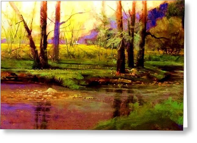Spring Fields Along Sunlite Creek Greeting Card by Joseph Barani