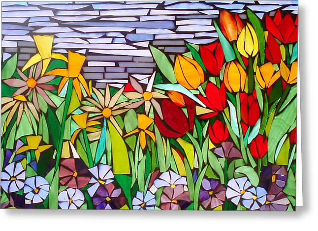 Spring Floral Mosaic Greeting Card