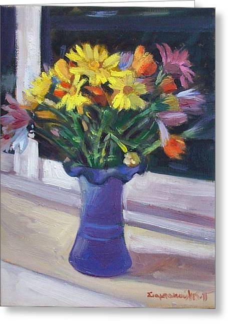 Spring Flouers Greeting Card by George Siaba