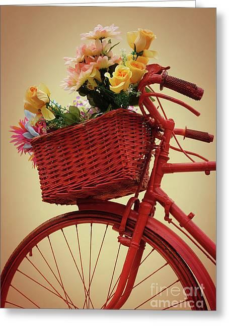 Spring Flower Bike Greeting Card by Carlos Caetano