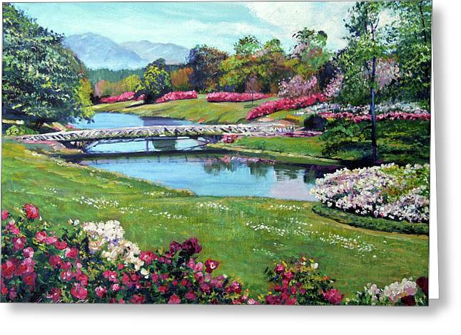 Spring Flower Park Greeting Card by David Lloyd Glover
