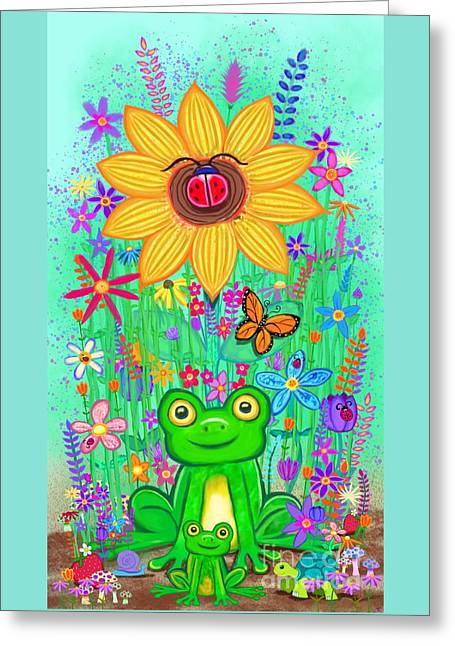 Spring Flowers And Frogs Greeting Card by Nick Gustafson