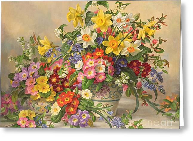 Spring Flowers And Poole Pottery Greeting Card by Albert Williams