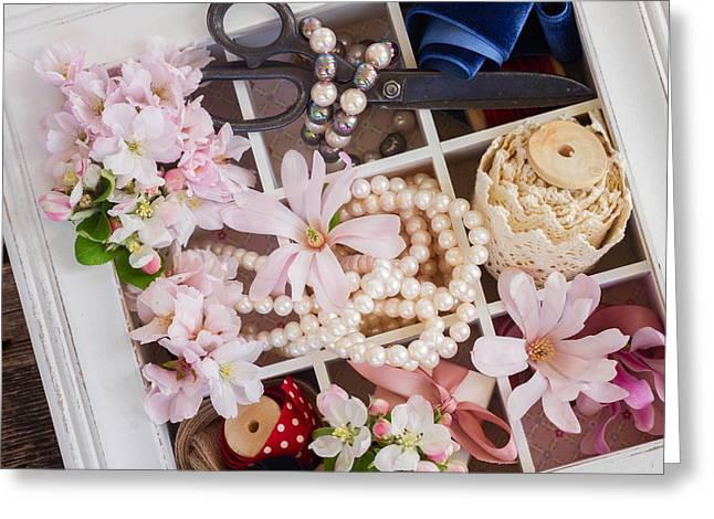 Spring Flowers Box Greeting Card by Anastasy Yarmolovich