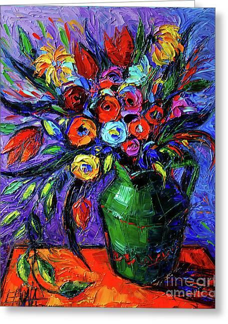 Spring Flowers In Green Jug Greeting Card by Mona Edulesco