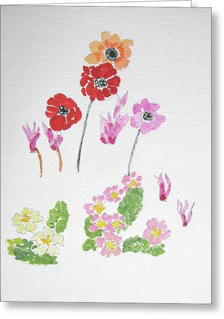 Primroses Drawings Greeting Cards - Spring Flowers Greeting Card by Maria Joy