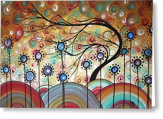Spring Flowers Original Painting Madart Greeting Card by Megan Duncanson