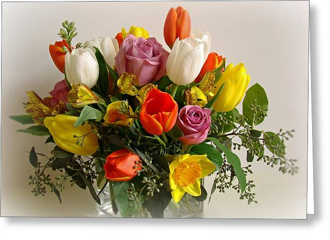 Spring Flowers Greeting Card by Sandy Keeton