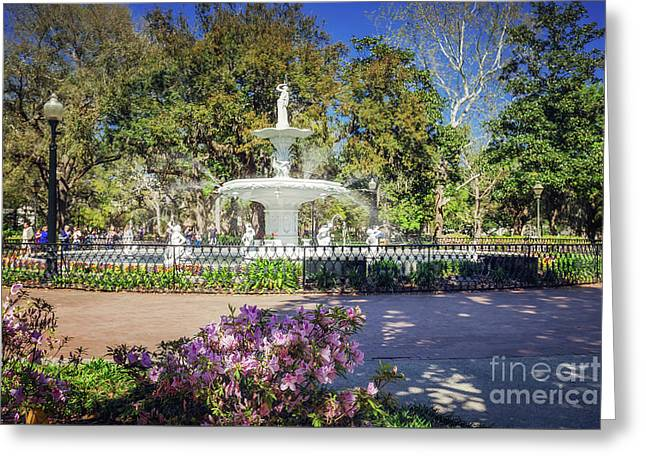Spring Fountain Greeting Card by Joan McCool