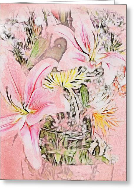 Spring Fowers With Vase Greeting Card