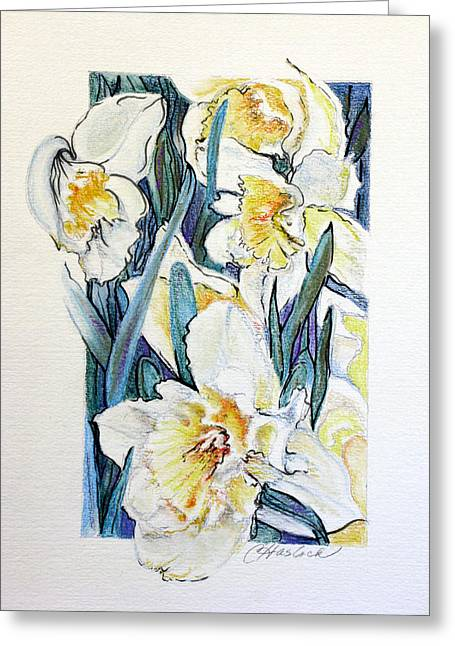 Spring Frills Greeting Card by Carole Haslock