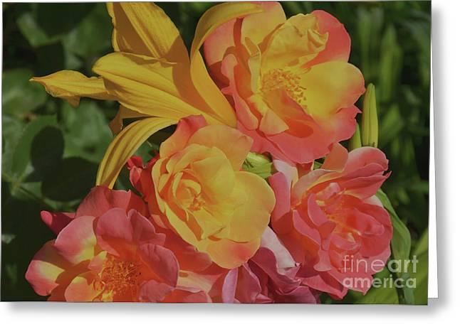 Spring Garden Bouquet Greeting Card by Debby Pueschel