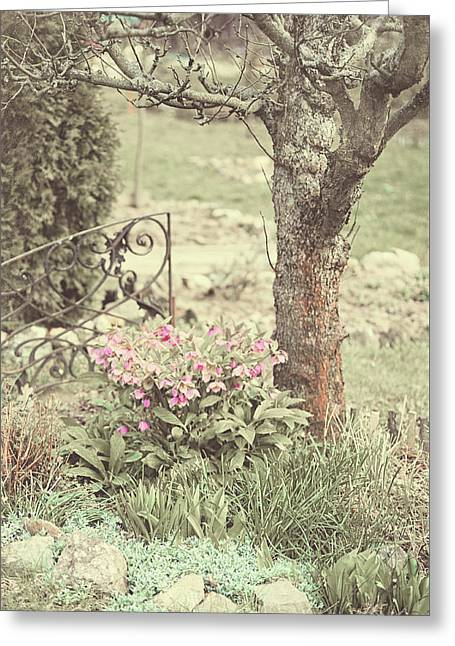 Spring Garden Pastel Greeting Card by Jenny Rainbow