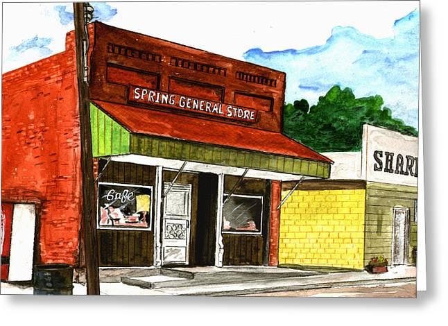 Spring General Store Sharpsburgh Iowa Greeting Card by Kevin Callahan