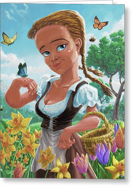 Greeting Card featuring the digital art Spring Girl by Martin Davey