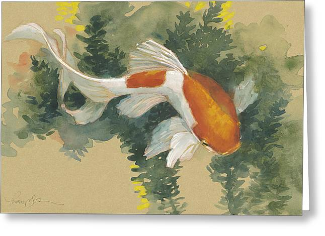 Spring Goldfish I Greeting Card by Tracie Thompson