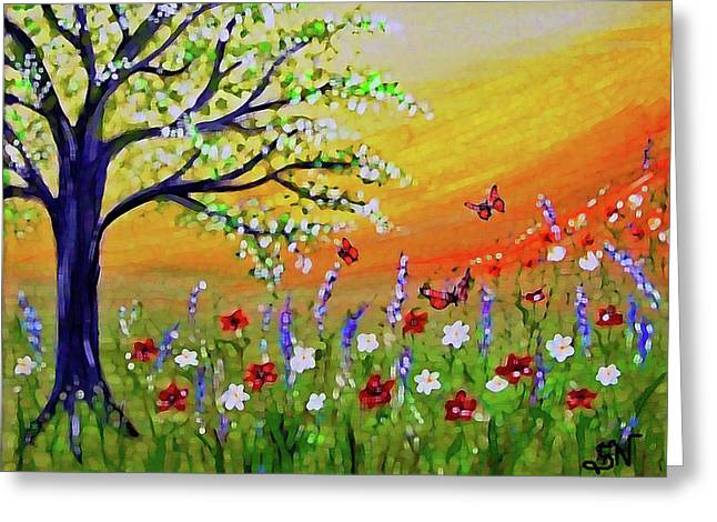 Greeting Card featuring the painting Spring Has Sprung by Sonya Nancy Capling-Bacle
