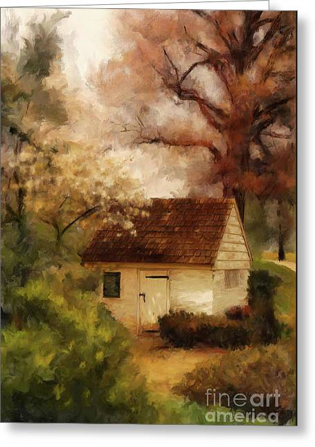 Greeting Card featuring the digital art Spring House In The Spring by Lois Bryan
