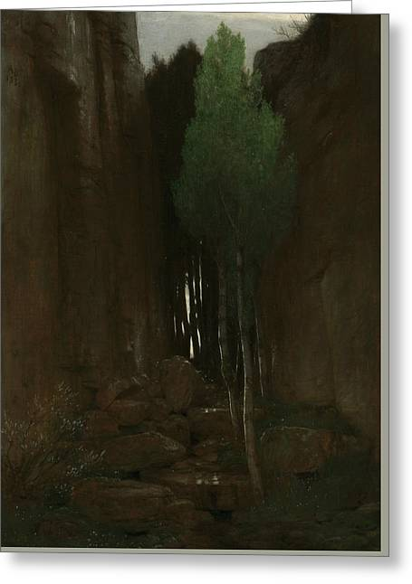 Spring In A Narrow Gorge Greeting Card by Arnold Bocklin