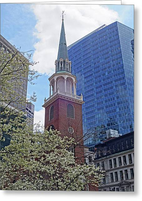 Spring In Boston Old South Meeting House Greeting Card