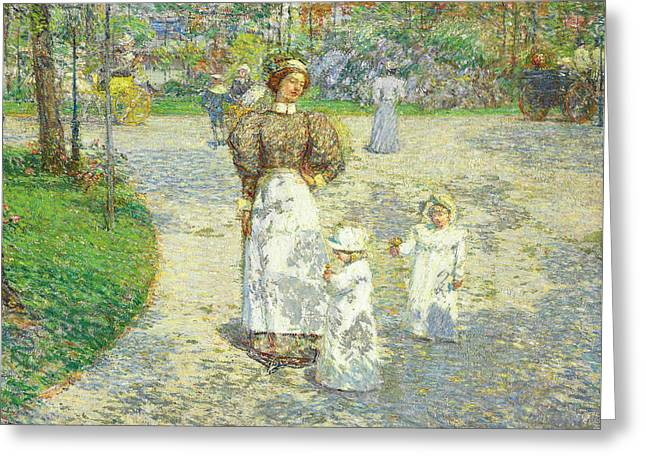 Spring In Central Park Greeting Card by Childe Hassam