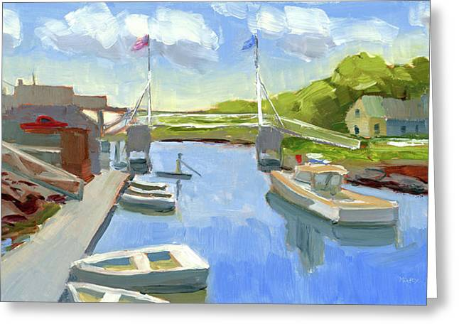 Spring In Perkins Cove Greeting Card by Mary Byrom