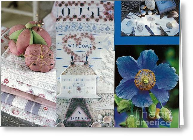 Spring In Pink And Blue Greeting Card