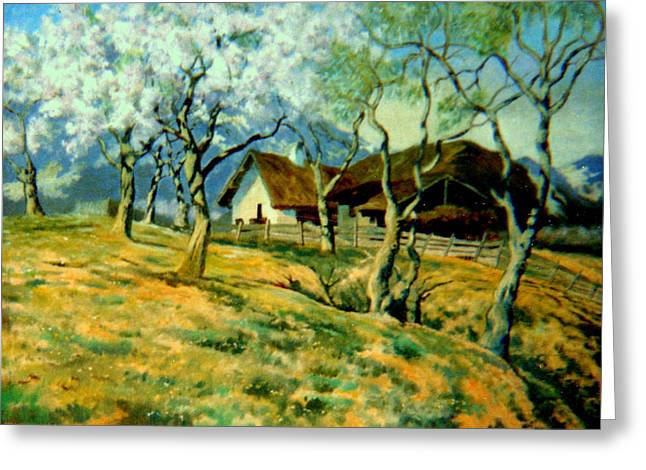 Greeting Card featuring the painting Spring In Poland by Henryk Gorecki