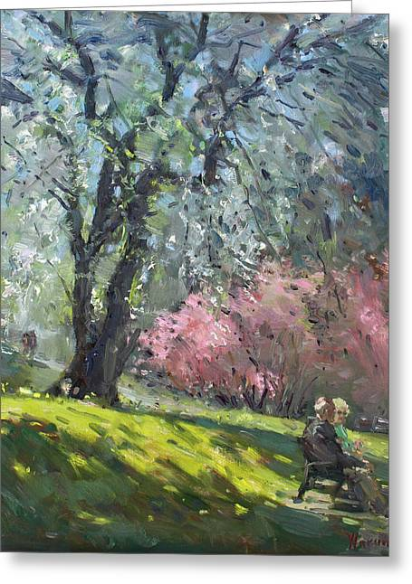 Spring In The Park Greeting Card by Ylli Haruni